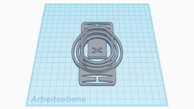 Fertige Ansicht der Version 4 des 3D-Druck-Objektivdeckelhalters in Tinkercad.