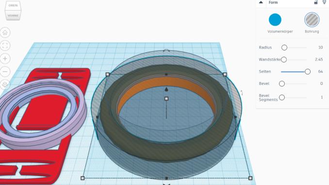 3D-Konstruktion eines der Ringe für den 3D-Druck-Objektivhalter in Tinkercad